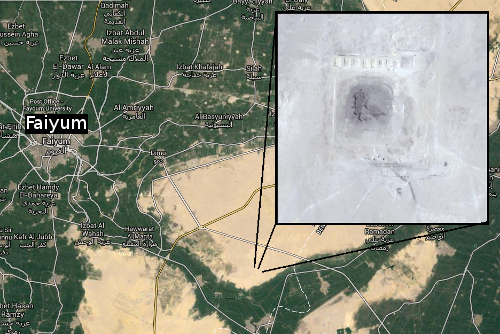 Screenshots from Google Maps showing Lahun Pyramid