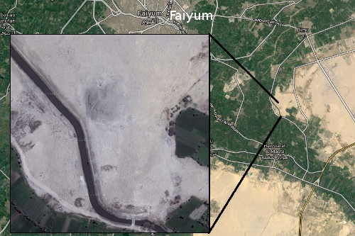 screenshots from Google Maps of Hawara Pyramid