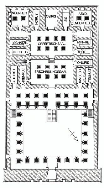 plan of the Ramesses II Temple at Abydos