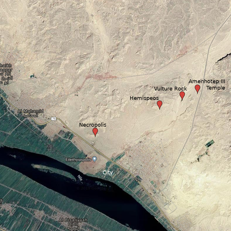Map of el Kab with sites labelled